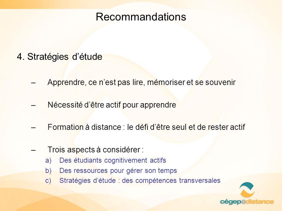 Recommandations 4. Stratégies détude –Apprendre, ce nest pas lire, mémoriser et se souvenir –Nécessité dêtre actif pour apprendre –Formation à distanc