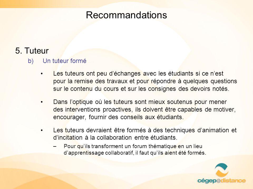 Recommandations 5. Tuteur b)Un tuteur formé Les tuteurs ont peu déchanges avec les étudiants si ce nest pour la remise des travaux et pour répondre à