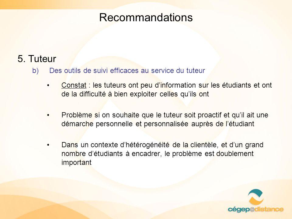 Recommandations 5. Tuteur b)Des outils de suivi efficaces au service du tuteur Constat : les tuteurs ont peu dinformation sur les étudiants et ont de