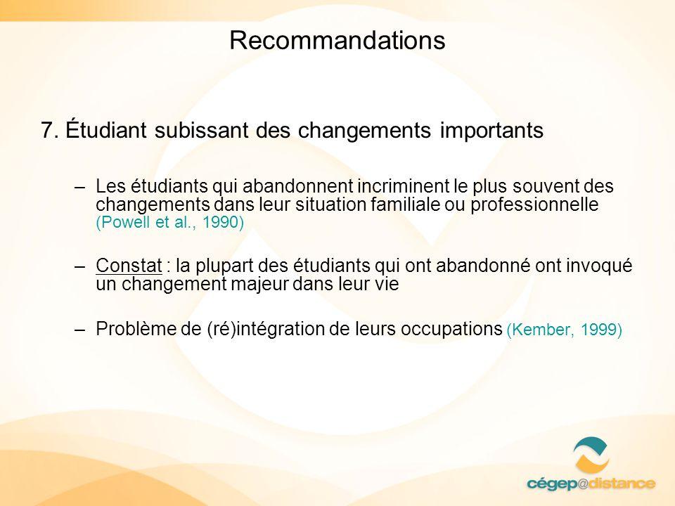 Recommandations 7. Étudiant subissant des changements importants –Les étudiants qui abandonnent incriminent le plus souvent des changements dans leur