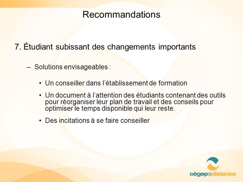 Recommandations 7. Étudiant subissant des changements importants –Solutions envisageables : Un conseiller dans létablissement de formation Un document