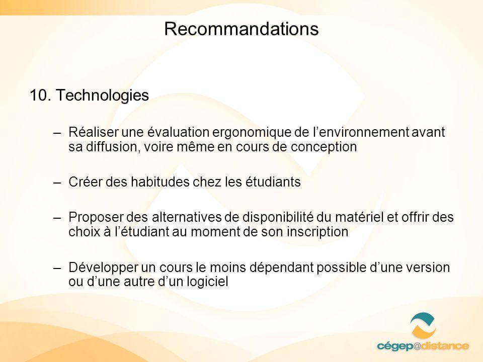 Recommandations 10. Technologies –Réaliser une évaluation ergonomique de lenvironnement avant sa diffusion, voire même en cours de conception –Créer d