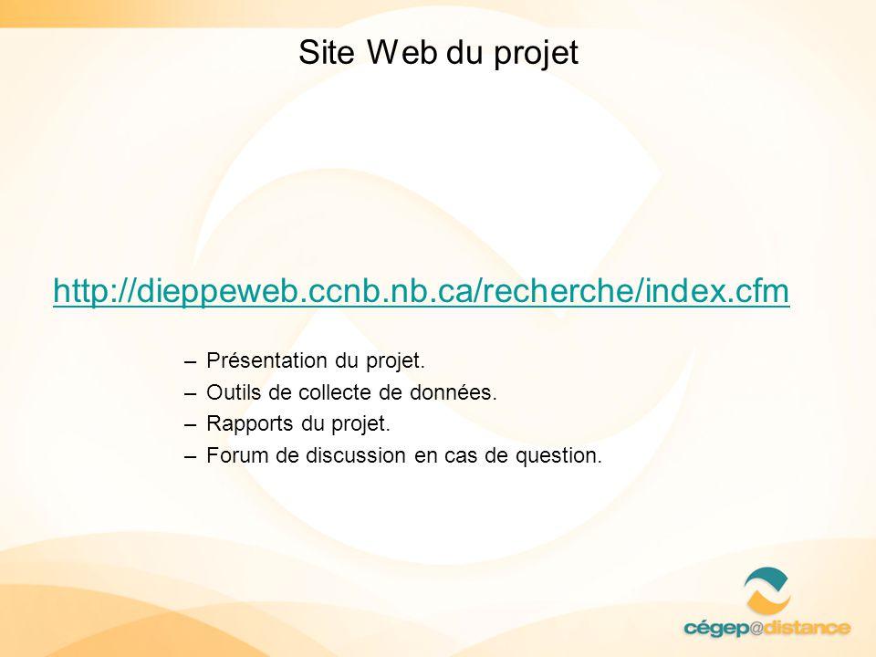 Site Web du projet http://dieppeweb.ccnb.nb.ca/recherche/index.cfm –Présentation du projet. –Outils de collecte de données. –Rapports du projet. –Foru