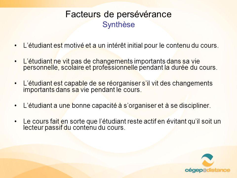 Facteurs de persévérance Synthèse Létudiant est motivé et a un intérêt initial pour le contenu du cours. Létudiant ne vit pas de changements important
