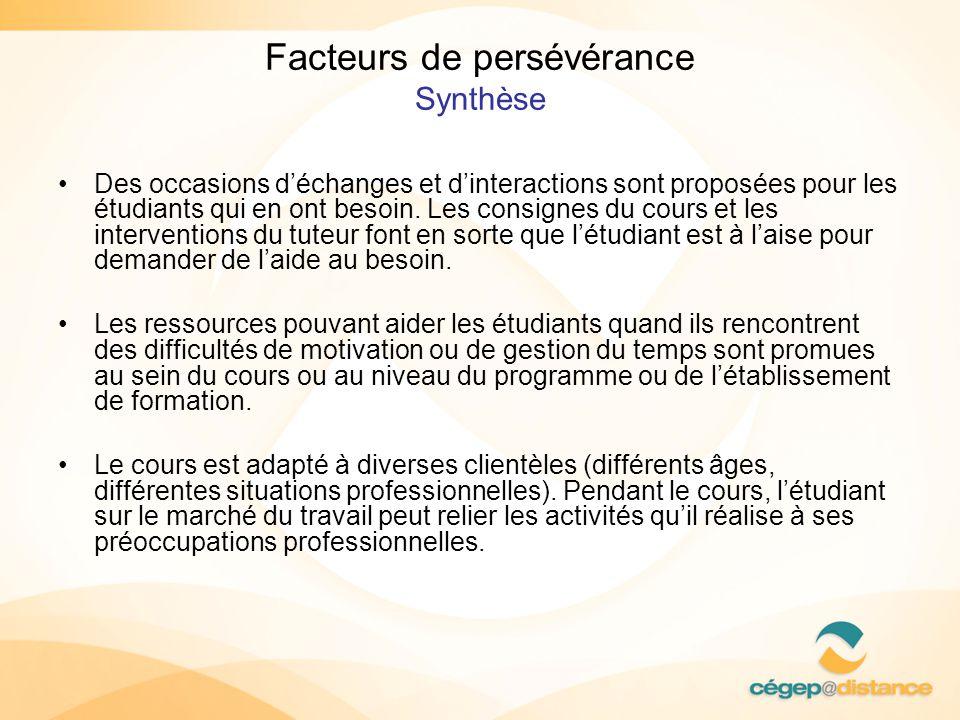 Facteurs de persévérance Synthèse Des occasions déchanges et dinteractions sont proposées pour les étudiants qui en ont besoin. Les consignes du cours