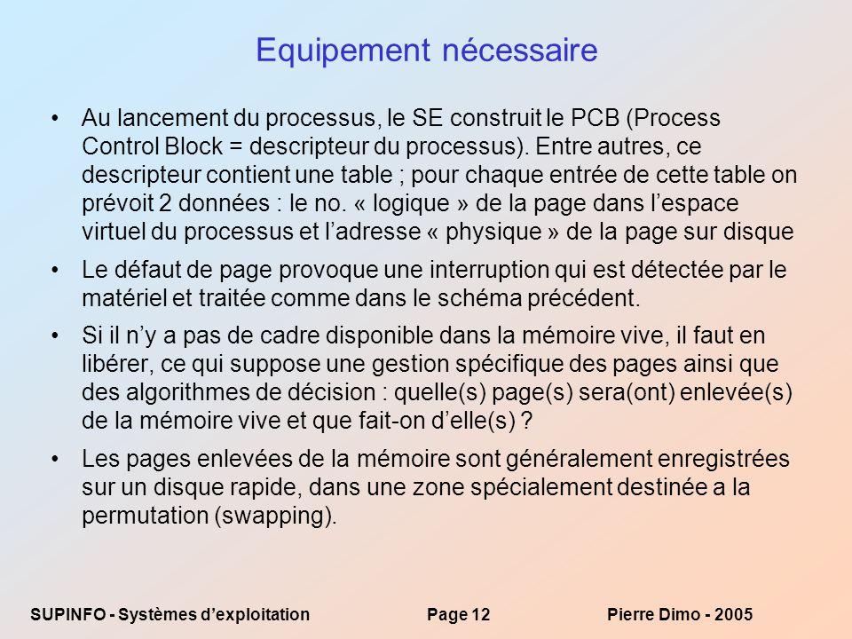 SUPINFO - Systèmes dexploitationPage 12Pierre Dimo - 2005 Equipement nécessaire Au lancement du processus, le SE construit le PCB (Process Control Block = descripteur du processus).