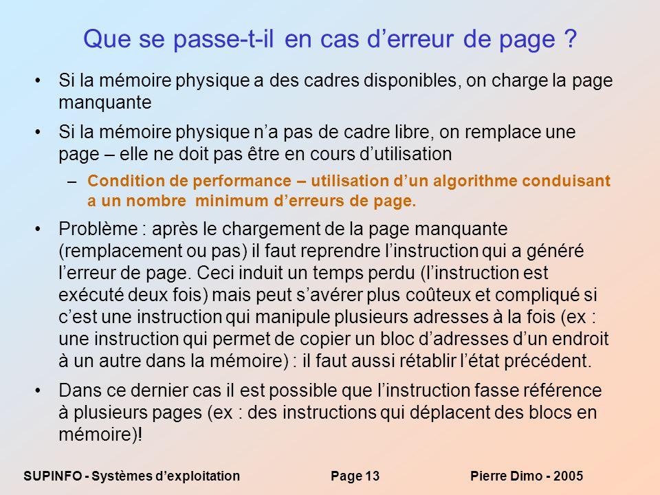 SUPINFO - Systèmes dexploitationPage 13Pierre Dimo - 2005 Que se passe-t-il en cas derreur de page .