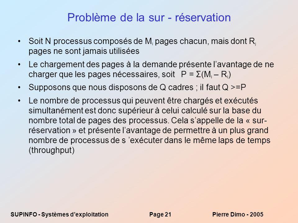 SUPINFO - Systèmes dexploitationPage 21Pierre Dimo - 2005 Problème de la sur - réservation Soit N processus composés de M i pages chacun, mais dont R j pages ne sont jamais utilisées Le chargement des pages à la demande présente lavantage de ne charger que les pages nécessaires, soit P = Σ(M i – R i ) Supposons que nous disposons de Q cadres ; il faut Q >=P Le nombre de processus qui peuvent être chargés et exécutés simultanément est donc supérieur à celui calculé sur la base du nombre total de pages des processus.