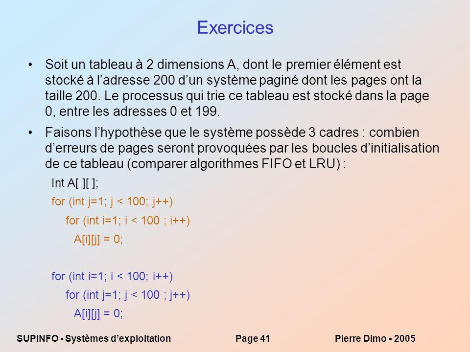 SUPINFO - Systèmes dexploitationPage 41Pierre Dimo - 2005 Exercices Soit un tableau à 2 dimensions A, dont le premier élément est stocké à ladresse 200 dun système paginé dont les pages ont la taille 200.