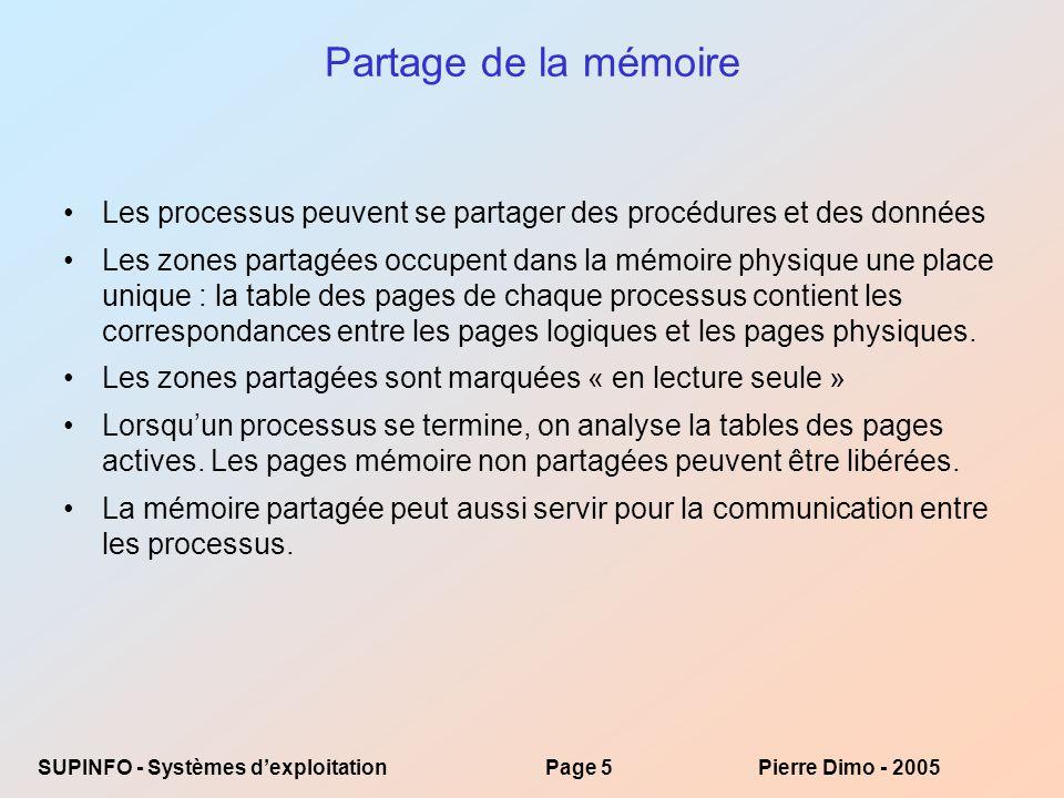 SUPINFO - Systèmes dexploitationPage 5Pierre Dimo - 2005 Partage de la mémoire Les processus peuvent se partager des procédures et des données Les zones partagées occupent dans la mémoire physique une place unique : la table des pages de chaque processus contient les correspondances entre les pages logiques et les pages physiques.