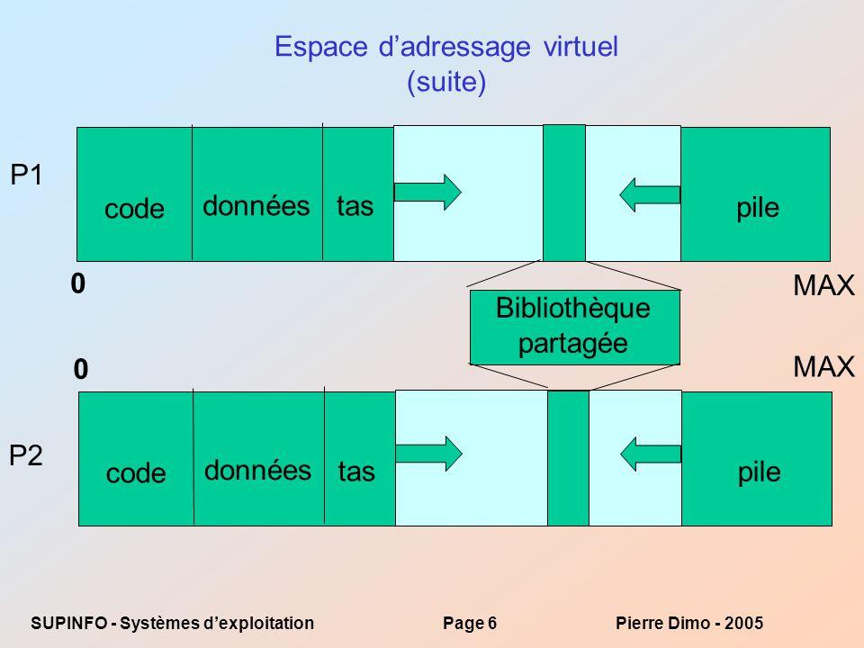 SUPINFO - Systèmes dexploitationPage 47Pierre Dimo - 2005 import java.io.*; import java.nio.*; import java.nio.channels.*; public class MemoryMapReadOnly { // on prévoit un page de 4 KB public static final int PAGE_SIZE = 4096; public static void main(String[] args) throws java.io.IOException { if (args.length == 1) { RandomAccessFile inFile = null; try { inFile = new RandomAccessFile(args[0], r ); } catch (FileNotFoundException fnfe) { System.err.println( Fichier + args[0] + inconnu ! ); System.exit(0); } FileChannel in = inFile.getChannel(); MappedByteBuffer mappedBuffer = in.map(FileChannel.MapMode.READ_ONLY, 0, in.size()); System.out.println( La taille de l image en mémoire est de + in.size()+ Kb ); long numPages = in.size() / (long)PAGE_SIZE; if (in.size() % PAGE_SIZE > 0) ++numPages; // on touche le premier octet de chaque page int position = 0; for (long i = 0; i < numPages; i++) { byte item = mappedBuffer.get(position); position += PAGE_SIZE; } System.out.println( Le système a mappé le fichier dans + numPages + pages de 4 Kb ); //System.out.println(in.size() % PAGE_SIZE); // déterminer si le chargement est terminé if (!mappedBuffer.isLoaded()) { // forcer le chargement mappedBuffer.load(); } in.close(); inFile.close(); }}} Retour…