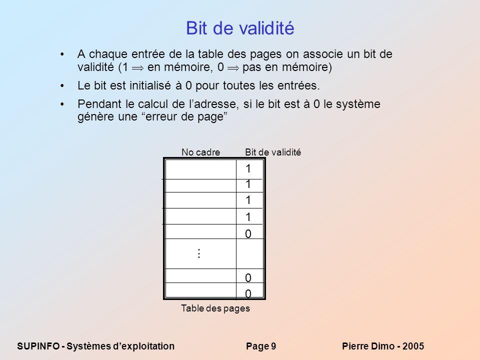 SUPINFO - Systèmes dexploitationPage 20Pierre Dimo - 2005 Réponse aux exercices Exercice 1 –Integer(11123456 / 4096) = 2715donc ladresse recherchée se trouve dans la page 2715 –2715 * 4096 = 11120640 cest ladresse du début de la page –Ladresse recherchée se trouve à ladresse 11123456 – 11120640 =2816 de la page 2715 Exercice 2 –En cas de défaut de page, 70% sont des pages modifiées et 30% des pages intactes.
