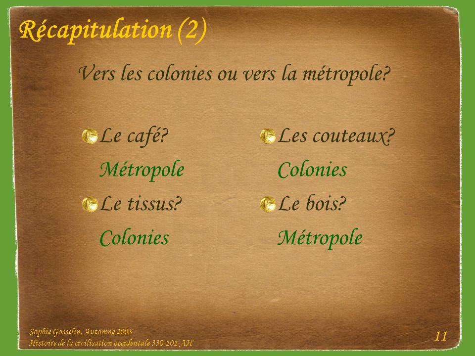 Sophie Gosselin, Automne 2008 Histoire de la civilisation occidentale 330-101-AH 11 Récapitulation (2) Le café? Métropole Le tissus? Colonies Vers les
