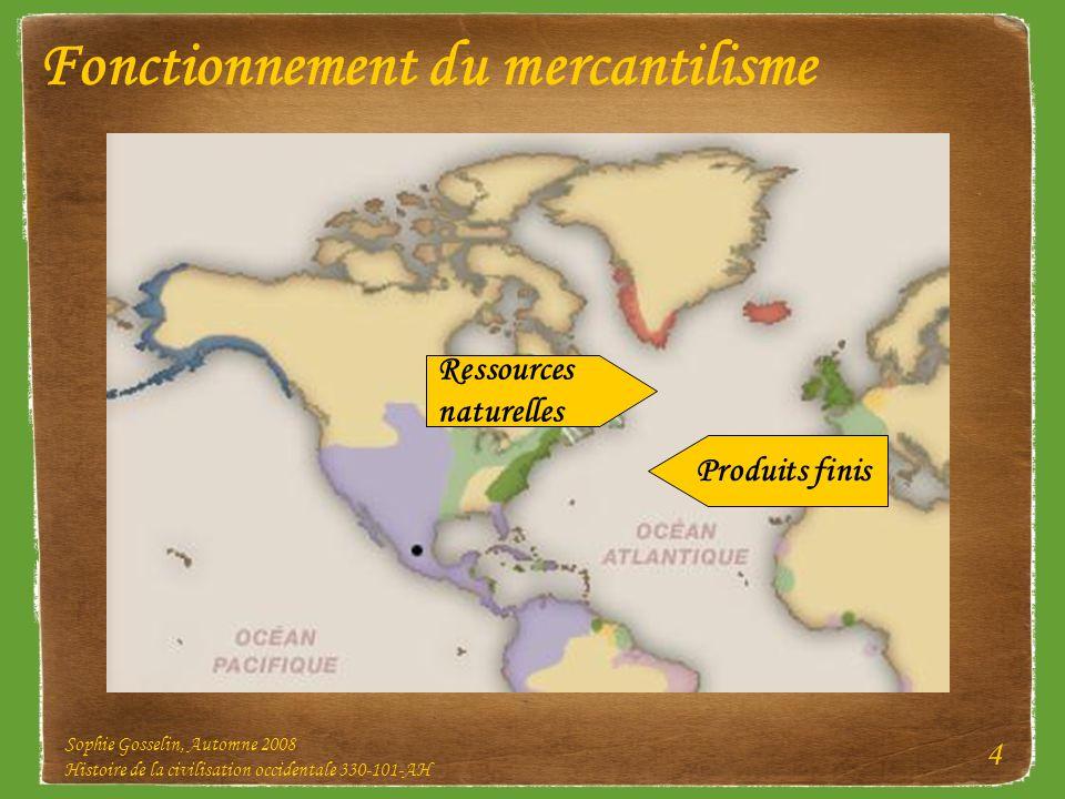 Sophie Gosselin, Automne 2008 Histoire de la civilisation occidentale 330-101-AH 4 Fonctionnement du mercantilisme Ressources naturelles Produits fini