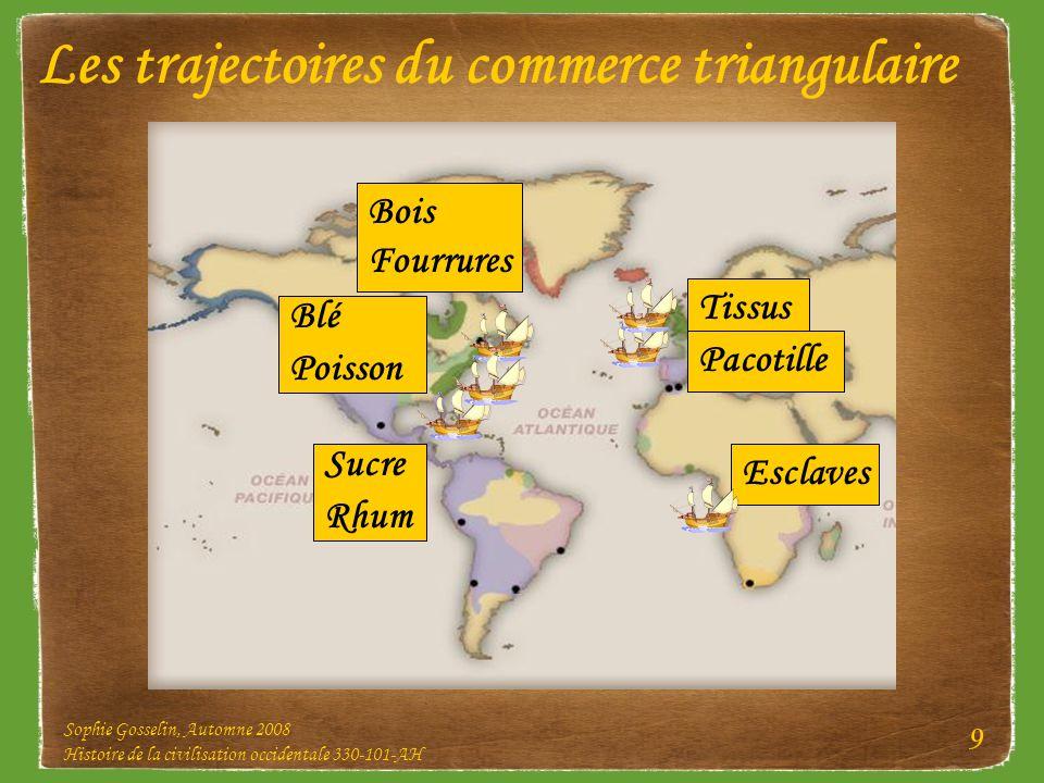 Sophie Gosselin, Automne 2008 Histoire de la civilisation occidentale 330-101-AH 9 Les trajectoires du commerce triangulaire Tissus Sucre Rhum Bois Fo