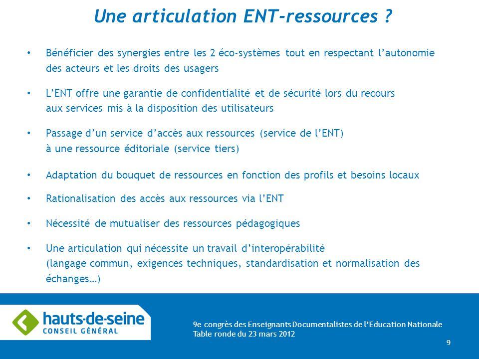 9e congrès des Enseignants Documentalistes de lEducation Nationale Table ronde du 23 mars 2012 9 Une articulation ENT-ressources .