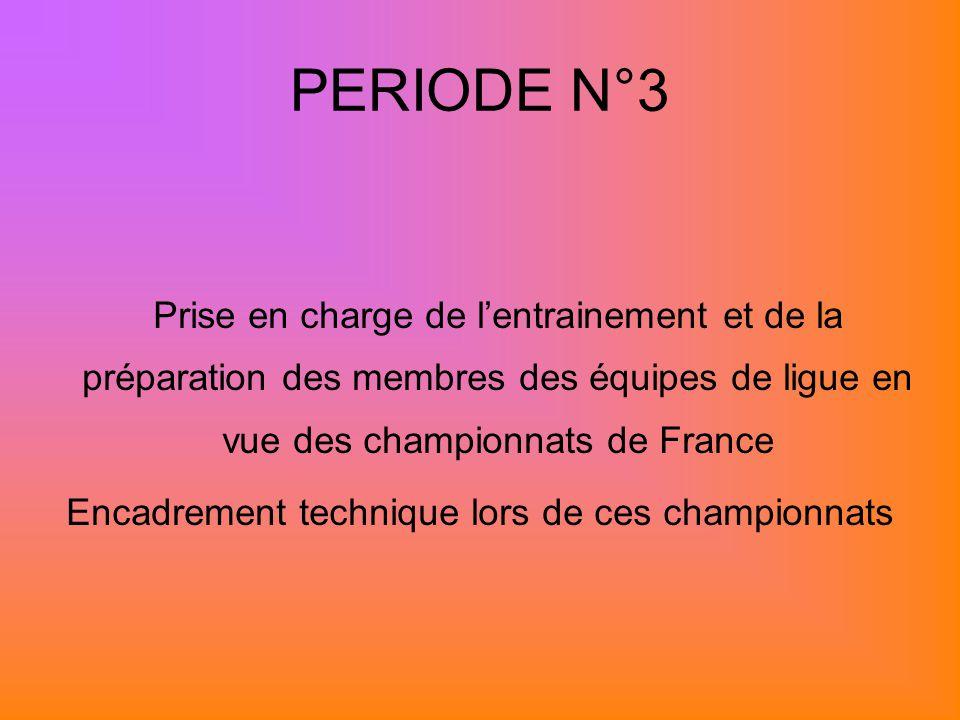 PERIODE N°3 Prise en charge de lentrainement et de la préparation des membres des équipes de ligue en vue des championnats de France Encadrement technique lors de ces championnats