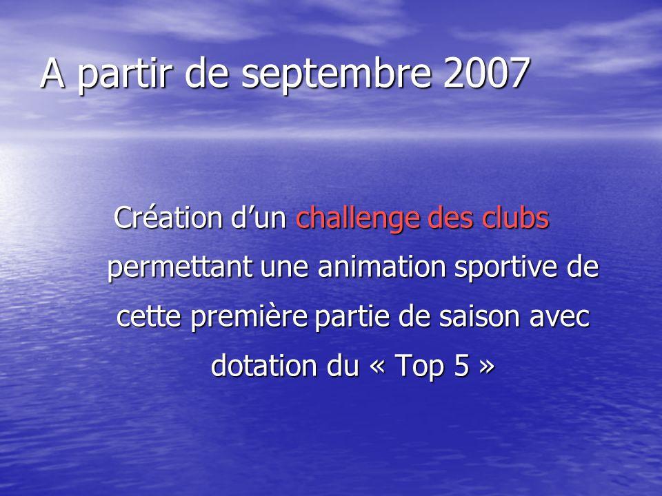 A partir de septembre 2007 Création dun challenge des clubs permettant une animation sportive de cette première partie de saison avec dotation du « Top 5 »