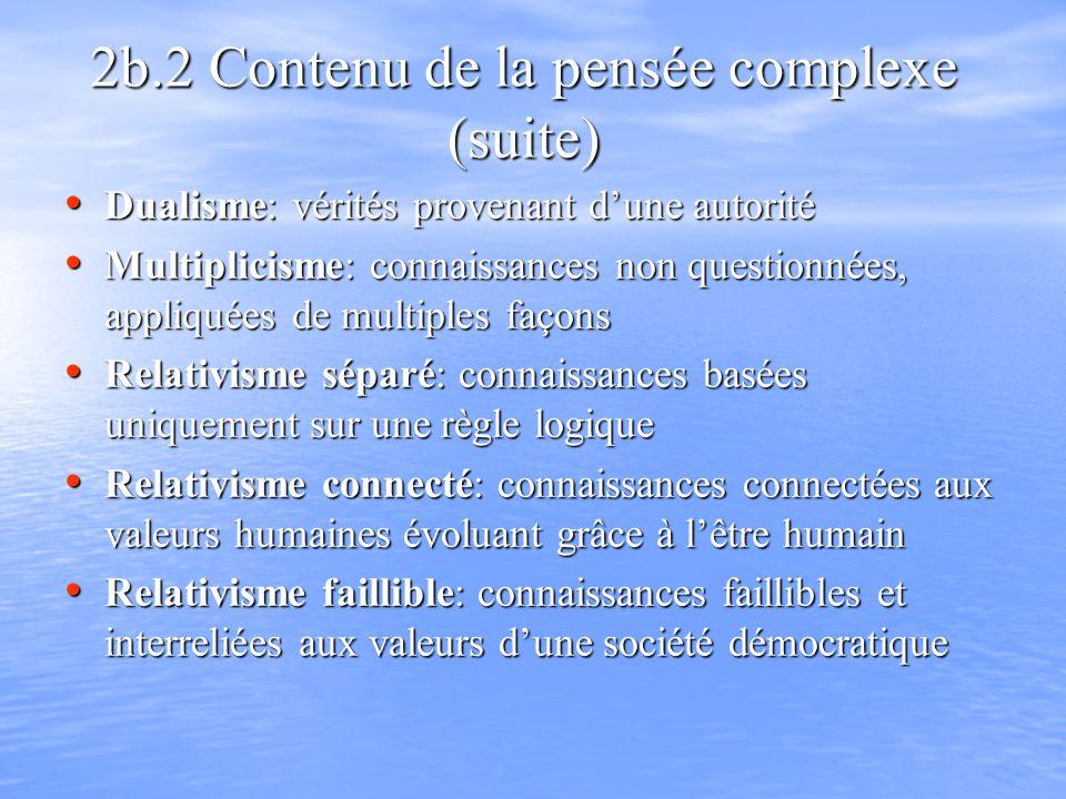 2b.2 Contenu de la pensée complexe (suite) Dualisme: vérités provenant dune autorité Dualisme: vérités provenant dune autorité Multiplicisme: connaiss