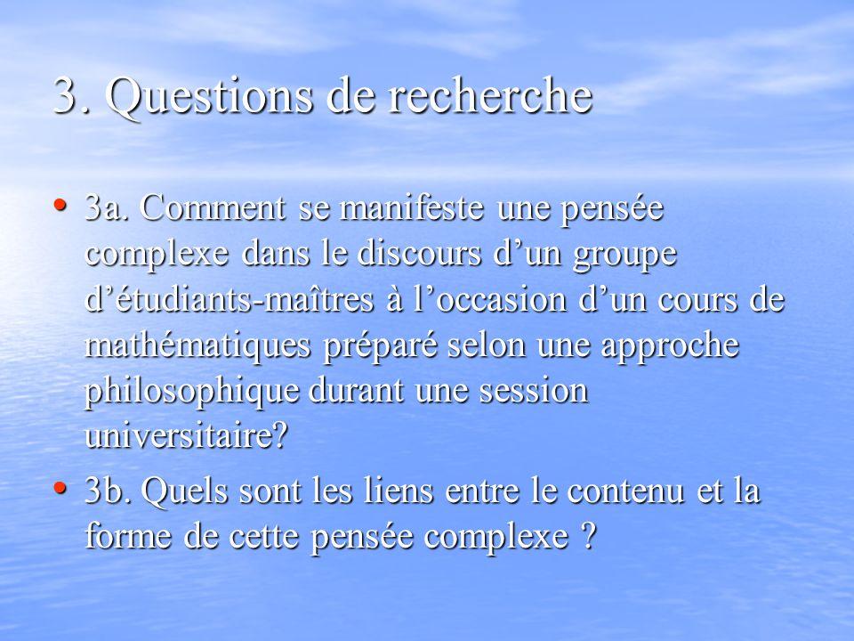 3. Questions de recherche 3a. Comment se manifeste une pensée complexe dans le discours dun groupe détudiants-maîtres à loccasion dun cours de mathéma