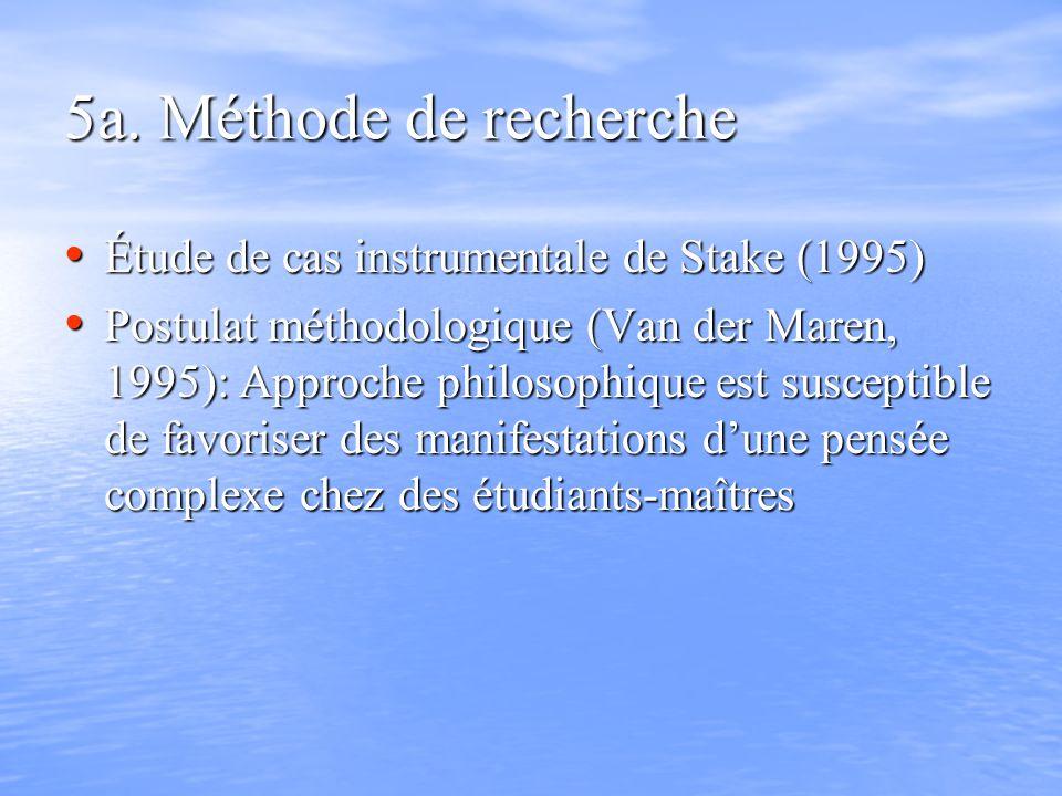 5a. Méthode de recherche Étude de cas instrumentale de Stake (1995) Étude de cas instrumentale de Stake (1995) Postulat méthodologique (Van der Maren,