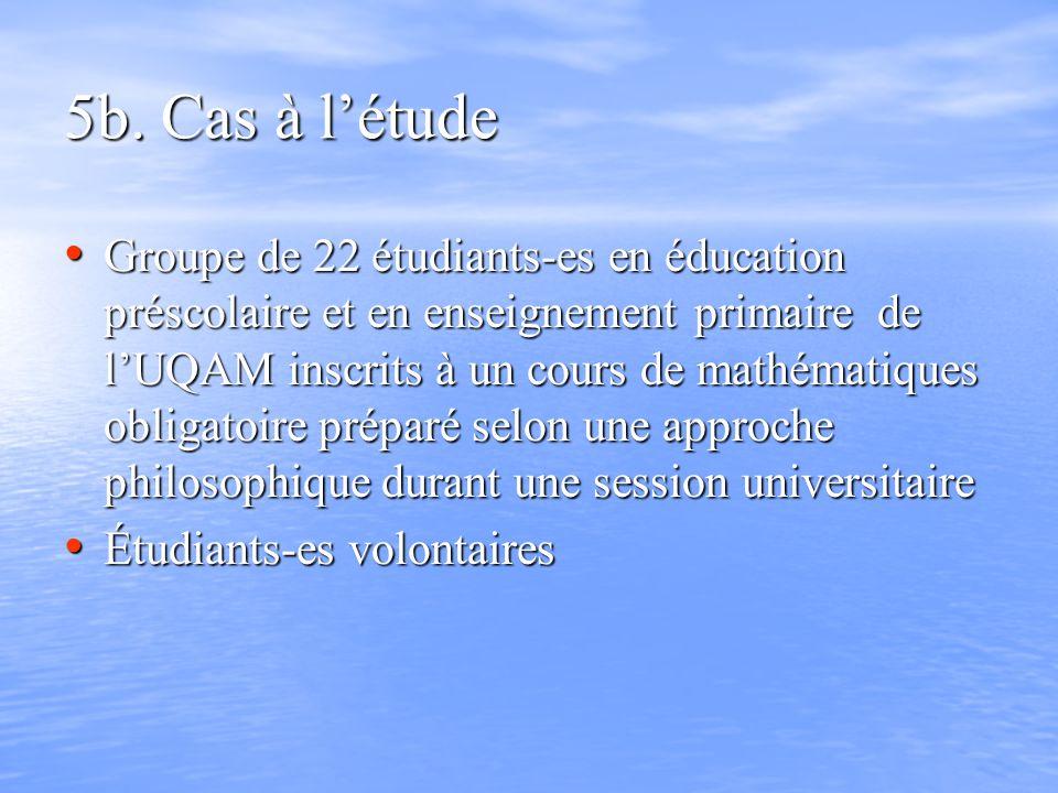 5b. Cas à létude Groupe de 22 étudiants-es en éducation préscolaire et en enseignement primaire de lUQAM inscrits à un cours de mathématiques obligato