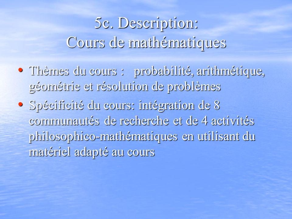 5c. Description: Cours de mathématiques Thèmes du cours : probabilité, arithmétique, géométrie et résolution de problèmes Thèmes du cours : probabilit