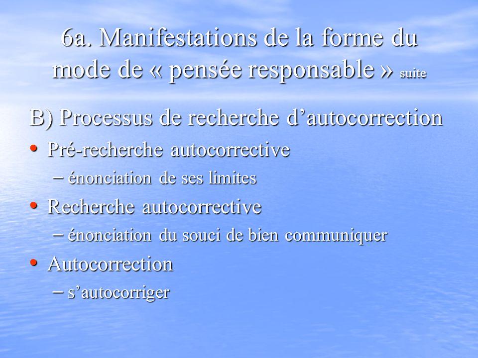 6a. Manifestations de la forme du mode de « pensée responsable » suite B) Processus de recherche dautocorrection Pré-recherche autocorrective Pré-rech