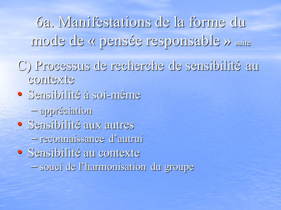 6a. Manifestations de la forme du mode de « pensée responsable » suite C) Processus de recherche de sensibilité au contexte C) Processus de recherche