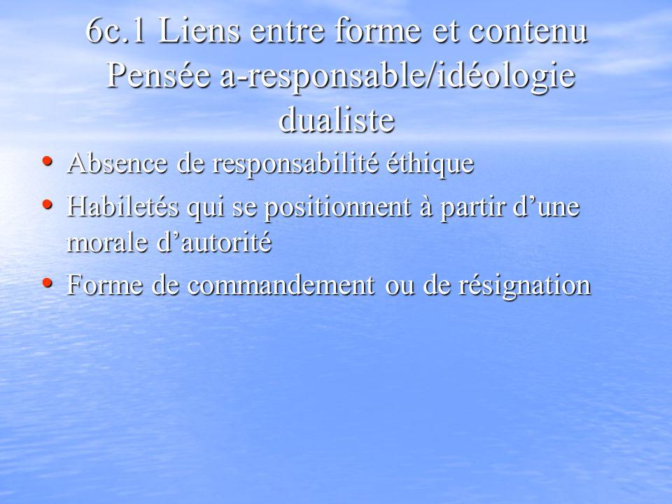 6c.1 Liens entre forme et contenu Pensée a-responsable/idéologie dualiste Absence de responsabilité éthique Absence de responsabilité éthique Habileté