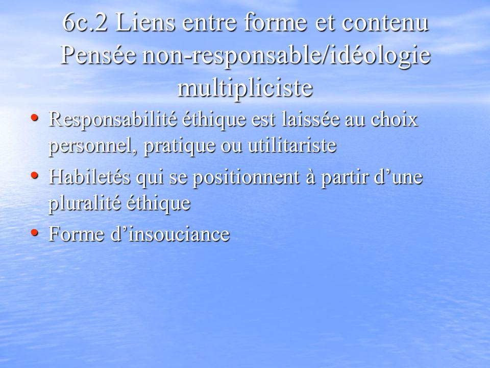 6c.2 Liens entre forme et contenu Pensée non-responsable/idéologie multipliciste Responsabilité éthique est laissée au choix personnel, pratique ou ut