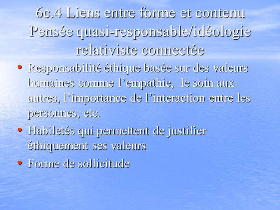 6c.4 Liens entre forme et contenu Pensée quasi-responsable/idéologie relativiste connectée Responsabilité éthique basée sur des valeurs humaines comme lempathie, le soin aux autres, limportance de linteraction entre les personnes, etc.