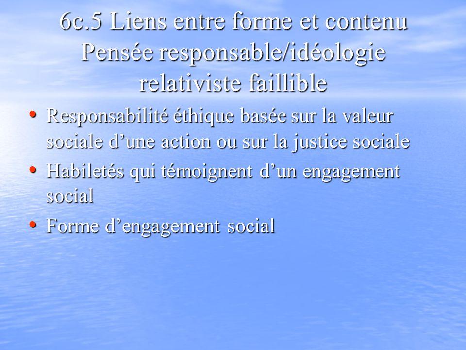 6c.5 Liens entre forme et contenu Pensée responsable/idéologie relativiste faillible Responsabilité éthique basée sur la valeur sociale dune action ou