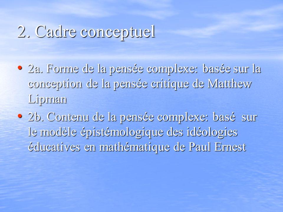 2. Cadre conceptuel 2a. Forme de la pensée complexe: basée sur la conception de la pensée critique de Matthew Lipman 2a. Forme de la pensée complexe:
