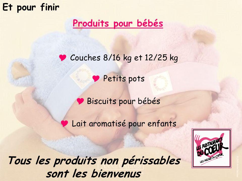 Produits pour bébés : Couches 8/16 kg et 12/25 kg Petits pots (Salés sans porc, desserts…) Biscuits pour bébés Lait aromatisé pour enfants Produits po