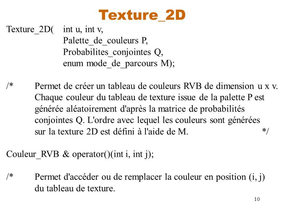 10 Texture_2D Texture_2D(int u, int v, Palette_de_couleurs P, Probabilites_conjointes Q, enum mode_de_parcours M); /*Permet de créer un tableau de cou