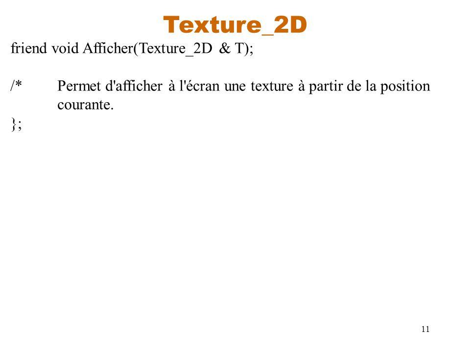 11 Texture_2D friend void Afficher(Texture_2D & T); /*Permet d'afficher à l'écran une texture à partir de la position courante. };