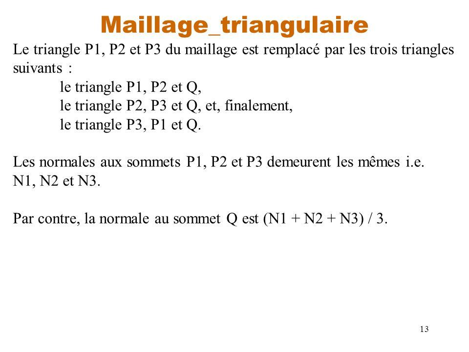 13 Maillage_triangulaire Le triangle P1, P2 et P3 du maillage est remplacé par les trois triangles suivants : le triangle P1, P2 et Q, le triangle P2,