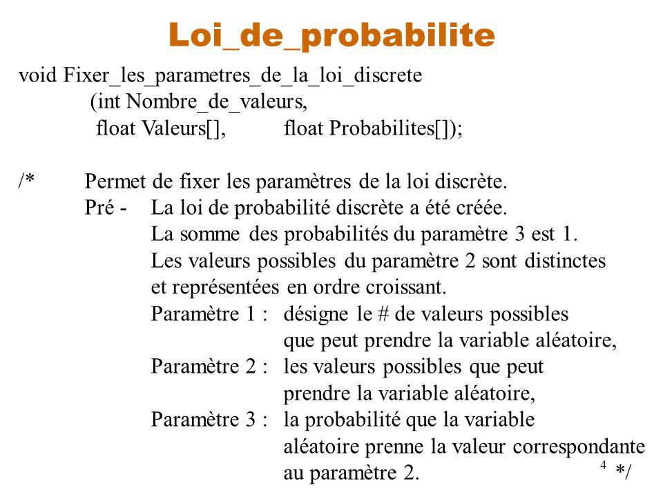 4 Loi_de_probabilite void Fixer_les_parametres_de_la_loi_discrete (int Nombre_de_valeurs, float Valeurs[],float Probabilites[]); /*Permet de fixer les