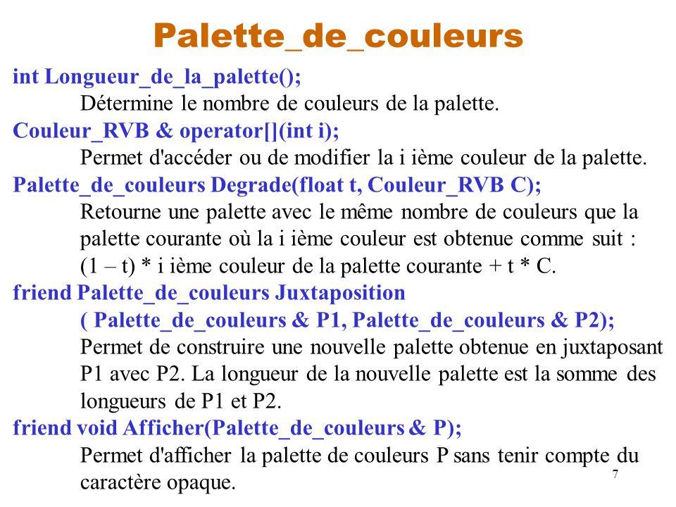 7 Palette_de_couleurs int Longueur_de_la_palette(); Détermine le nombre de couleurs de la palette. Couleur_RVB & operator[](int i); Permet d'accéder o