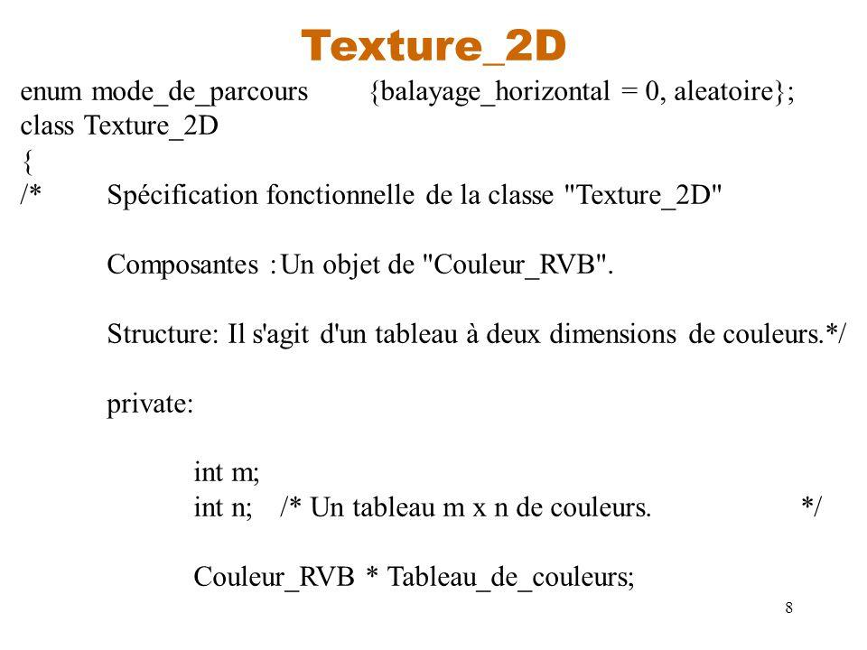 8 Texture_2D enum mode_de_parcours{balayage_horizontal = 0, aleatoire}; class Texture_2D { /*Spécification fonctionnelle de la classe