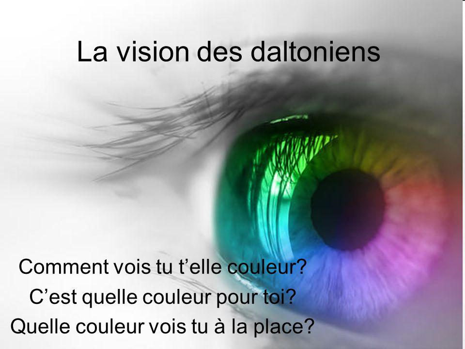 La vision des daltoniens Comment vois tu telle couleur? Cest quelle couleur pour toi? Quelle couleur vois tu à la place?