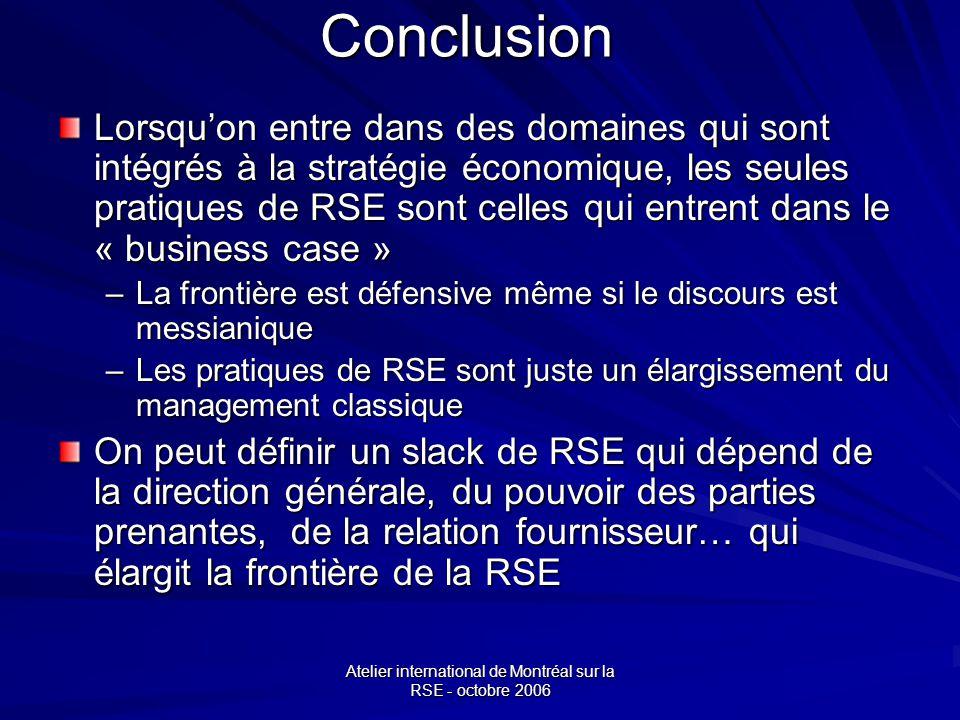 Atelier international de Montréal sur la RSE - octobre 2006 Conclusion Lorsquon entre dans des domaines qui sont intégrés à la stratégie économique, les seules pratiques de RSE sont celles qui entrent dans le « business case » –La frontière est défensive même si le discours est messianique –Les pratiques de RSE sont juste un élargissement du management classique On peut définir un slack de RSE qui dépend de la direction générale, du pouvoir des parties prenantes, de la relation fournisseur… qui élargit la frontière de la RSE
