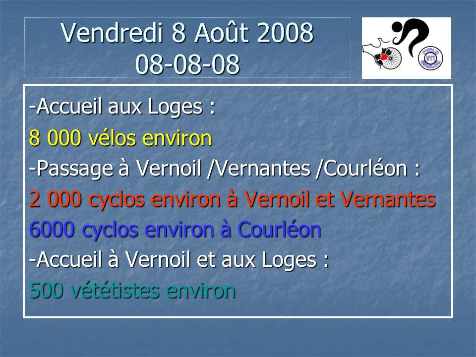 Vendredi 8 Août 2008 08-08-08 -Accueil aux Loges : 8 000 vélos environ -Passage à Vernoil /Vernantes /Courléon : 2 000 cyclos environ à Vernoil et Vernantes 6000 cyclos environ à Courléon -Accueil à Vernoil et aux Loges : 500 vététistes environ