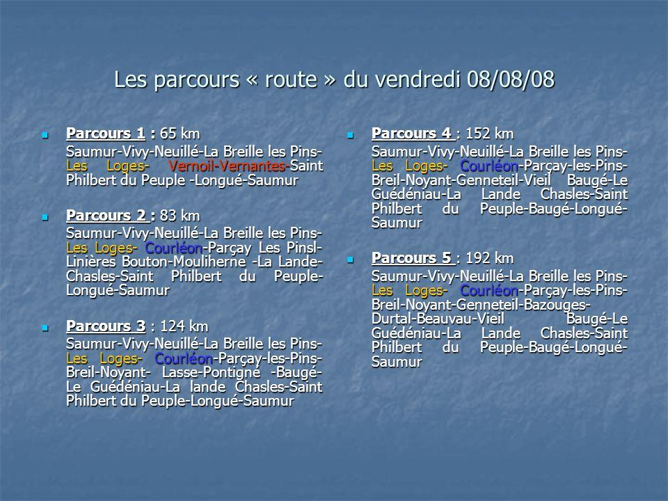 Les parcours « route » du vendredi 08/08/08 Parcours 1 : 65 km Parcours 1 : 65 km Saumur-Vivy-Neuillé-La Breille les Pins- Les Loges- Vernoil-Vernantes-Saint Philbert du Peuple -Longué-Saumur Parcours 2 : 83 km Parcours 2 : 83 km Saumur-Vivy-Neuillé-La Breille les Pins- Les Loges- Courléon-Parçay Les Pinsl- Linières Bouton-Mouliherne -La Lande- Chasles-Saint Philbert du Peuple- Longué-Saumur Parcours 3 : 124 km Parcours 3 : 124 km Saumur-Vivy-Neuillé-La Breille les Pins- Les Loges- Courléon-Parçay-les-Pins- Breil-Noyant- Lasse-Pontigné -Baugé- Le Guédéniau-La lande Chasles-Saint Philbert du Peuple-Longué-Saumur Parcours 4 : 152 km Parcours 4 : 152 km Saumur-Vivy-Neuillé-La Breille les Pins- Les Loges- Courléon-Parçay-les-Pins- Breil-Noyant-Genneteil-Vieil Baugé-Le Guédéniau-La Lande Chasles-Saint Philbert du Peuple-Baugé-Longué- Saumur Saumur-Vivy-Neuillé-La Breille les Pins- Les Loges- Courléon-Parçay-les-Pins- Breil-Noyant-Genneteil-Vieil Baugé-Le Guédéniau-La Lande Chasles-Saint Philbert du Peuple-Baugé-Longué- Saumur Parcours 5 : 192 km Parcours 5 : 192 km Saumur-Vivy-Neuillé-La Breille les Pins- Les Loges- Courléon-Parçay-les-Pins- Breil-Noyant-Genneteil-Bazouges- Durtal-Beauvau-Vieil Baugé-Le Guédéniau-La Lande Chasles-Saint Philbert du Peuple-Baugé-Longué- Saumur