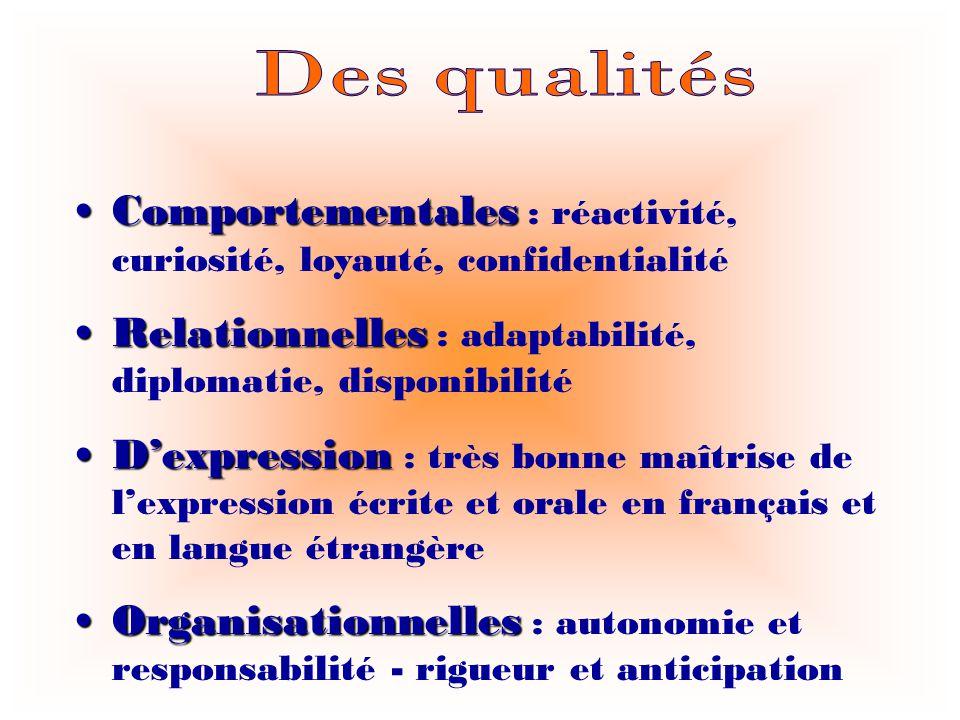 Comportementales : réactivité, curiosité, loyauté, confidentialité Relationnelles : adaptabilité, diplomatie, disponibilité Dexpression : très bonne m