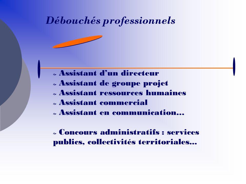 Assistant dun directeur Assistant de groupe projet Assistant ressources humaines Assistant commercial Assistant en communication… Concours administrat