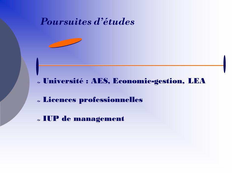 Université : AES, Economie-gestion, LEA Licences professionnelles IUP de management Poursuites détudes