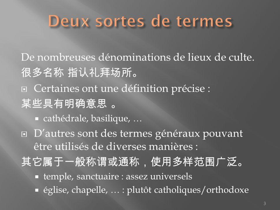 De nombreuses dénominations de lieux de culte. Certaines ont une définition précise : cathédrale, basilique, … Dautres sont des termes généraux pouvan