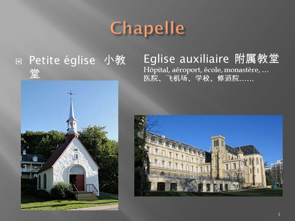 Petite église Eglise auxiliaire Hôpital, aéroport, école, monastère, … …… 4